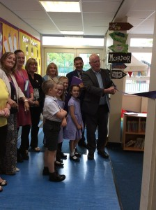 Fr Chris opening the library