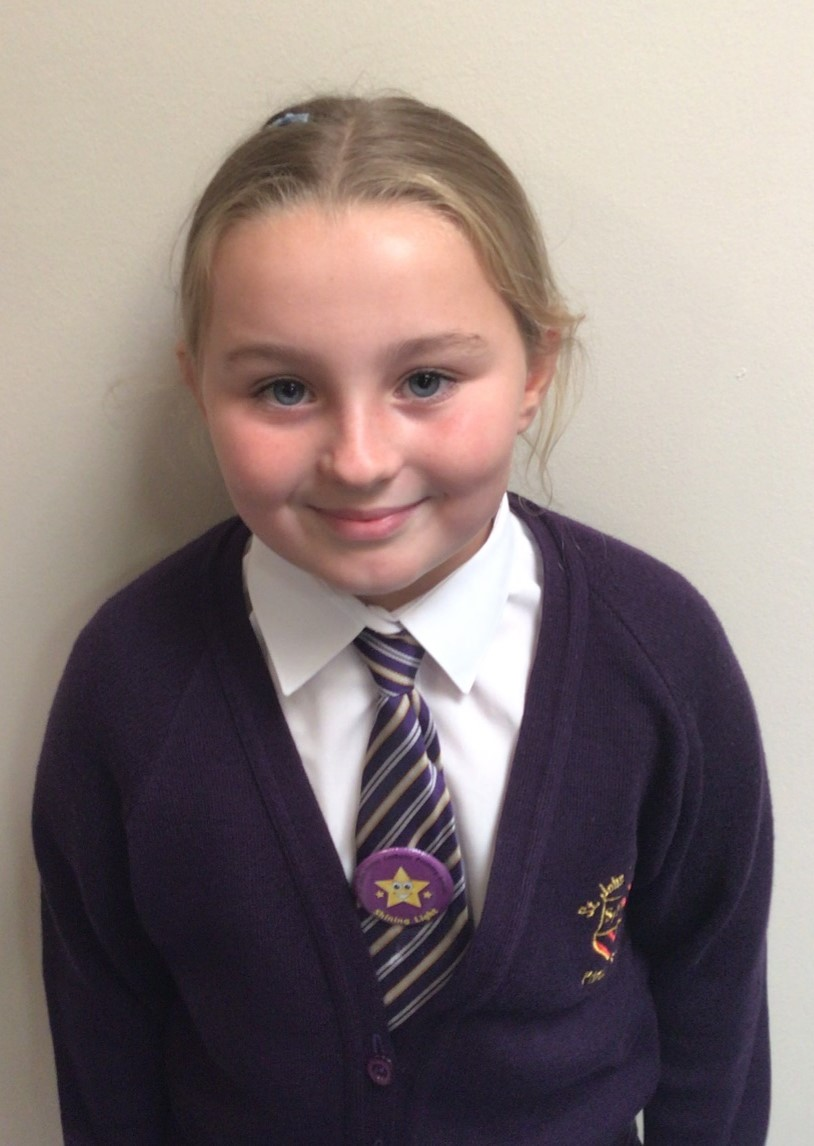 My name is Millie, I am proud to have been voted as a Shining Light by my class. I believe I will be good with visitors and be able to show them how we SHINE. I am a polite person who always has good manners and I use my Learning Powers to help when completing my lessons.